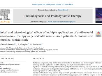 """Publikacja w  """"Photodiagnosis and Photodynamic Therapy"""""""
